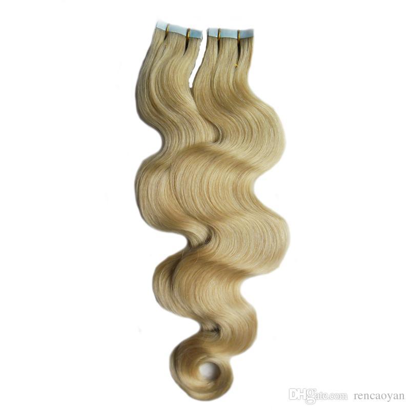 100 г Реми наращивание человеческих волос клейкая лента PU уток кожи (40шт) Лента в наращивание человеческих волос объемная волна необработанные девственные бразильские волосы