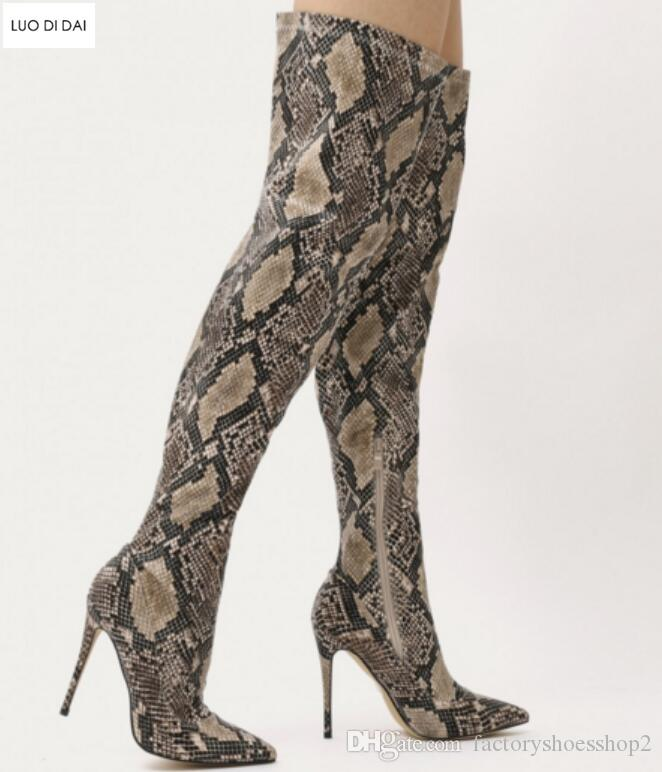 2018 donne sexy stivali alti stivali di pelle di serpente stampa stivali da donna scarpe da sera punta punta stivaletti tacco sottile sopra il ginocchio alti stivaletti