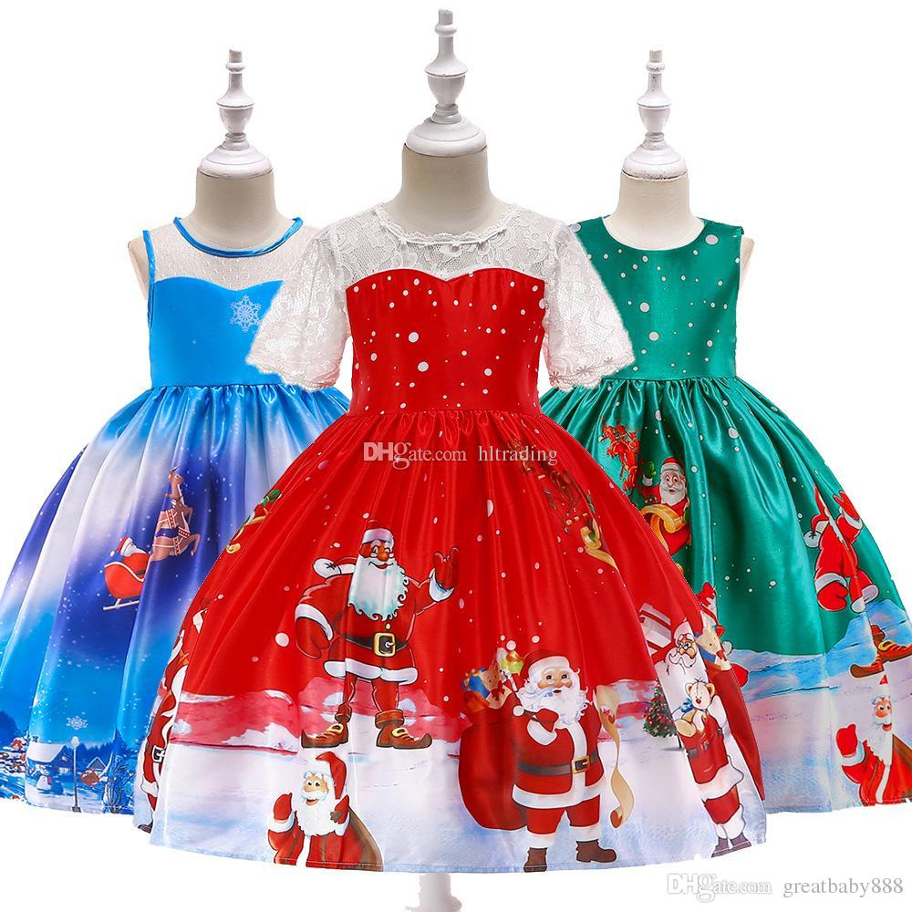 Christmas Baby Girl Princess Dress Toddler Kid Sleeveless Bow Deer Party Clothes