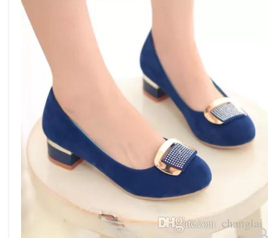 Free envoi 2018 printemps et automne nouveau style femmes talon simple chaussures à talon bas talon moyen chaussures à tête ronde