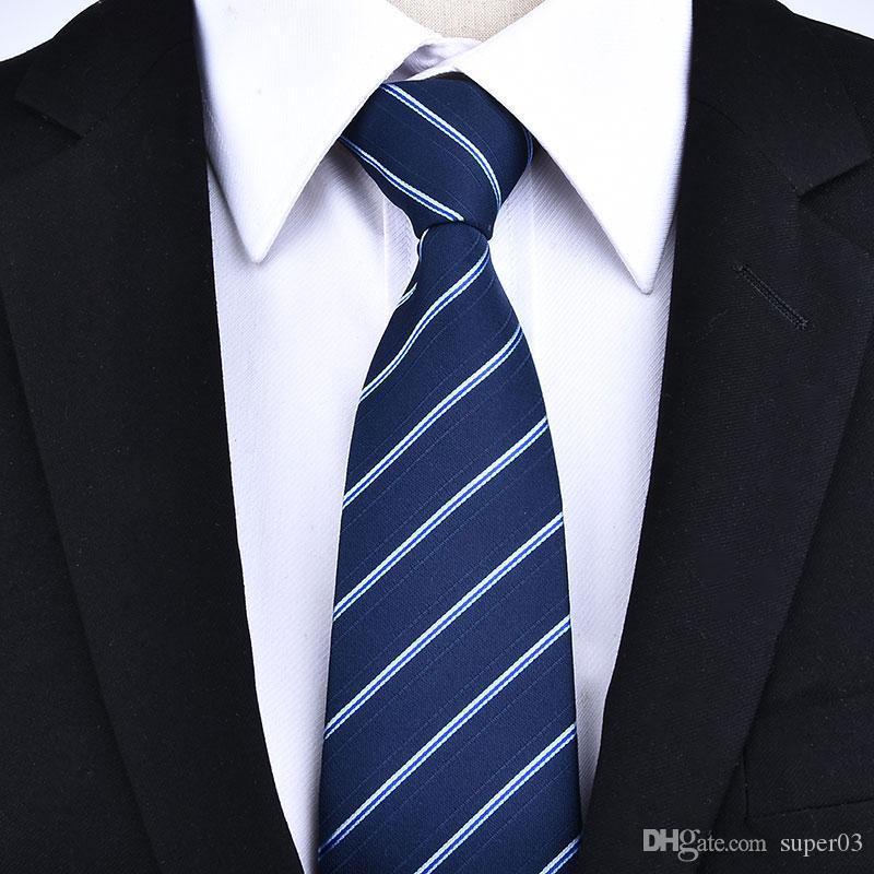 지퍼 넥타이 8cm 게으른 넥타이 남자의 상업적인 정식 복식 웨딩 연회를 당기기 쉬운 비즈니스 신랑