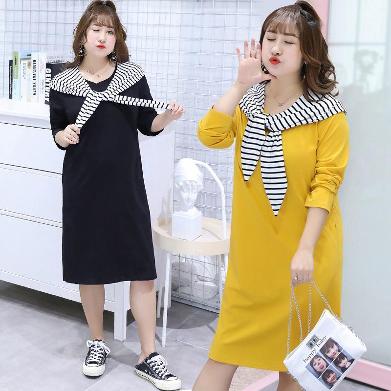 2018 sonbahar yeni ürün, büyük kod, gündelik giyim, iki parçalı elbise, moda T-shirt A099