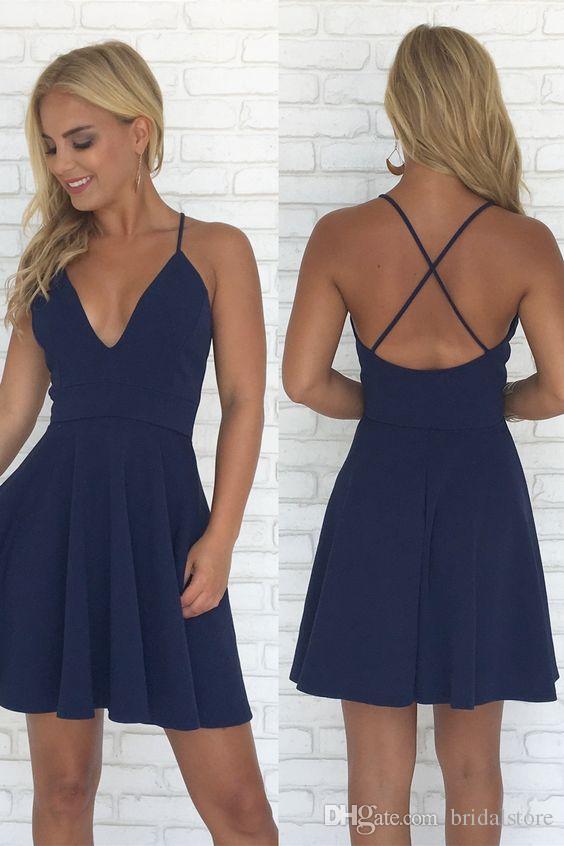 short navy blue party dresses