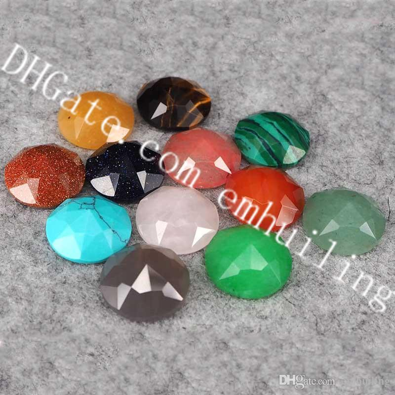 20Pcs 16mm Diamond Shape Natural Quartz Cab Faceted Point Surface Round Flatback Crystal Semi Precious Gems Cacbochons for Jewelry Making