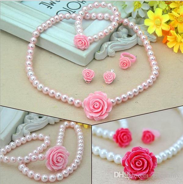 Fashion jewelry imitation necklace bracelet ring ear clip set pearls kids girls child flower shape jewelry kids gift