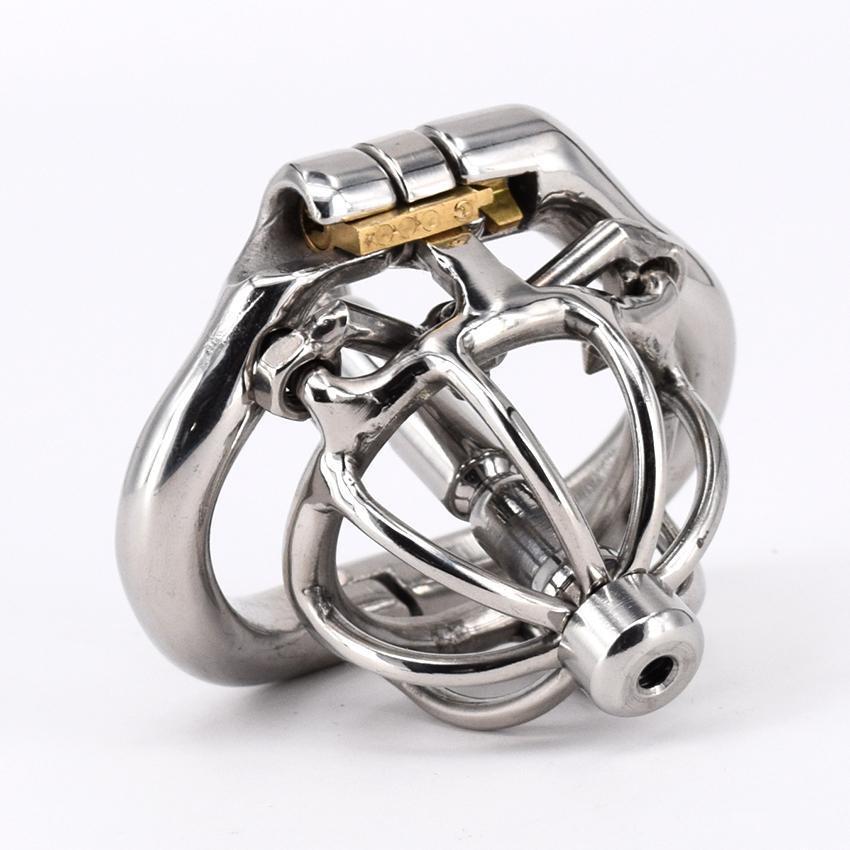 Волшебный замок новые устройства целомудрия с шипами анти-off кольцо из нержавеющей стали Супер маленькое мужское устройство целомудрия Короткая клетка петух для мужчин Arc Base