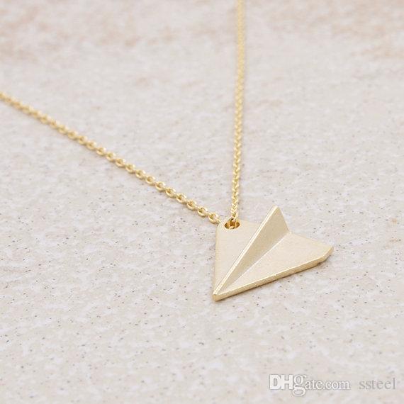 10 قطع اوريغامي الطائرة الطائرة قلادة الذهب / الفضة ورقة طائرة قلادة طائرة آلة الطيران قلادة مجوهرات للأصدقاء