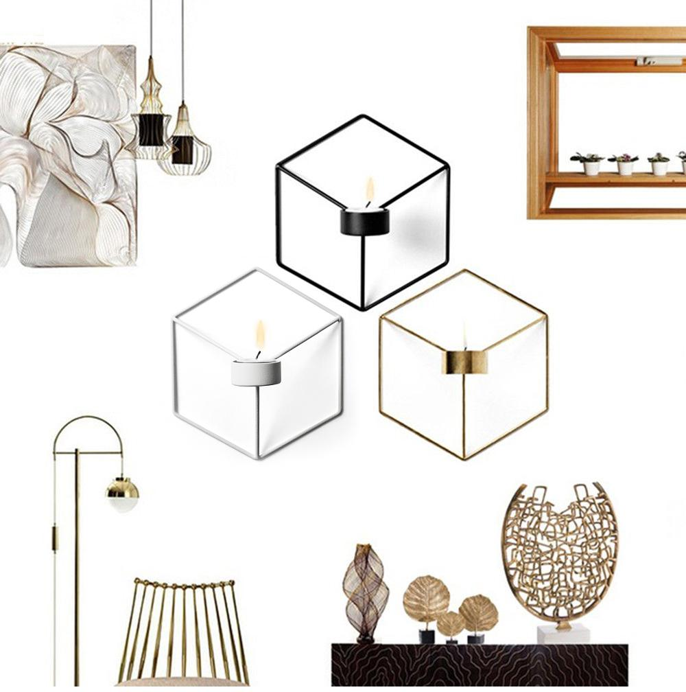 Nordic Style 3D Geometry Candlestick Metal Wall Hexagon Candle Holder Sconce Tealight Matching Wedding Decoration Home Decor