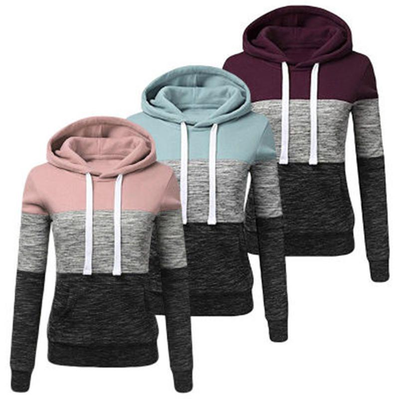 O-Neck Women Hoodie Sweatshirt Patchwork Female Harajuku Casual Long Sleeve Hooed Pullover Hoody Fashion Clothing Size M-3XL