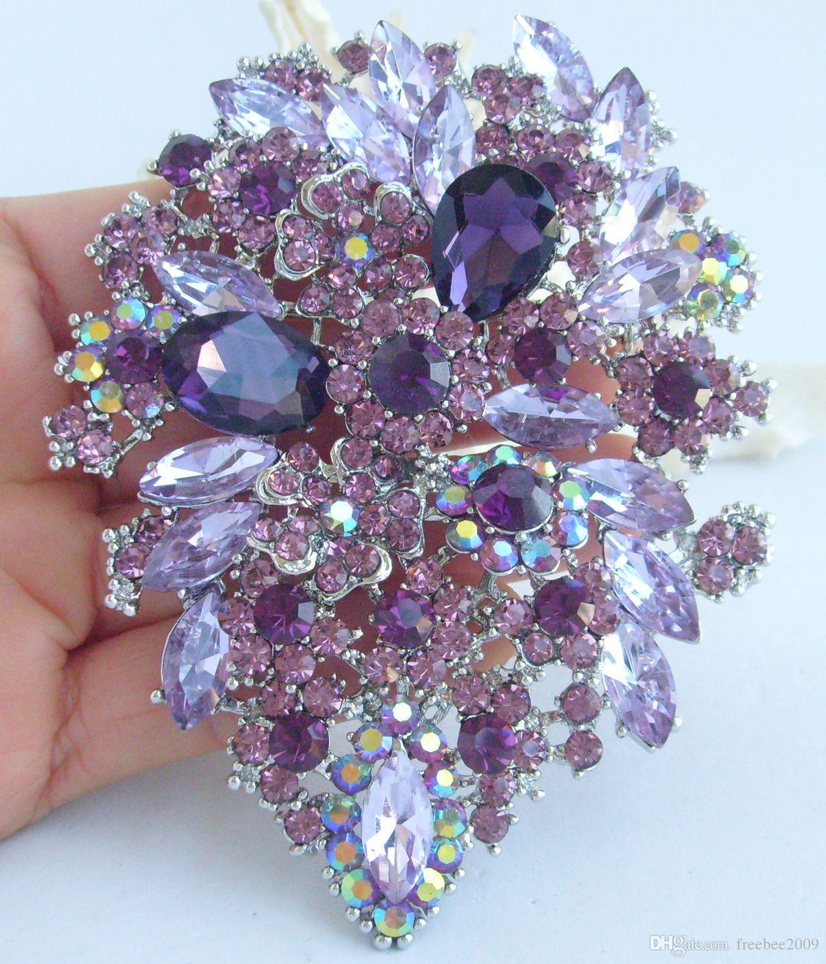 "4.13 ""Mooie bladbloem broche pin w Purple Rhinestone Crystals EE03905C7"