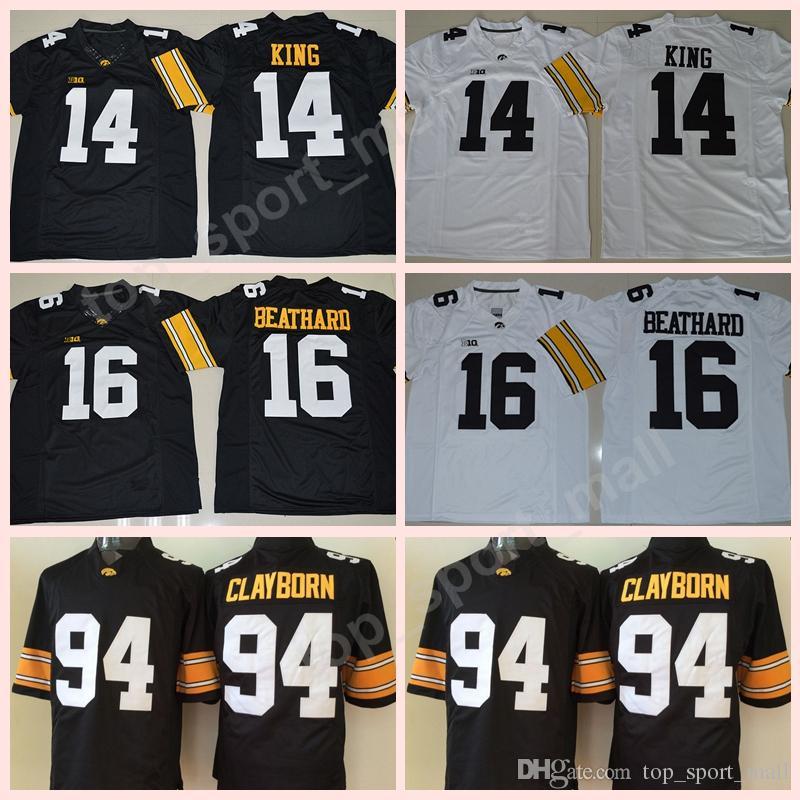 Numéro personnalisé Numéro Iowa Hawkeyes Jerseys NCAA College Football 14 Desmond King Jersey 16 CJ Caehard 94 Adrian Clayborn cousu noir blanc