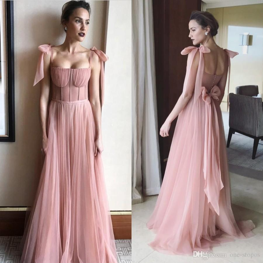 Sweet Blush Pink Long Formal Evening Dresses 2018 Fairy Girls Tulle Prom Party Gowns With Bow knot Spaghetti Straps Plus Size Dresses