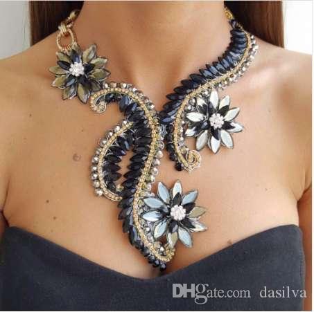 Big Maxi Statement Necklace for Women Rhinestone Necklace Flowers Collar Chokers Necklace Bijoux jewellry