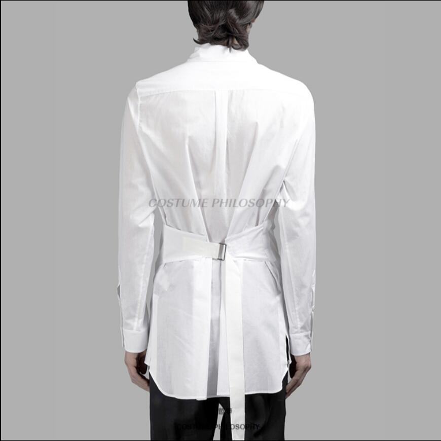 S-6XL Original New Men Clothing personality long sleeve slim shirt hair stylist girdling shirts singer DS plus size costumes