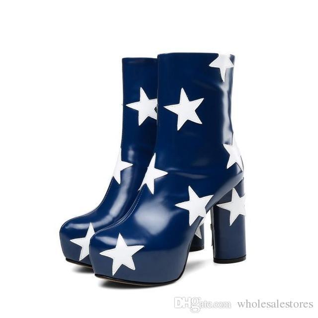 Hot Brand Women Boots Mixed Color Stars Pattern Short Booties Side Zipper Ankle Boots High Heel Super Star Runway Women Shoes