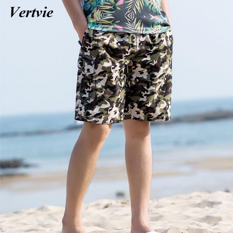 Vertvie Yeni erkek Plaj Şort Kamuflaj baskı Hızlı Kuru Mayo Şort Yaz Erkek Plaj Spor Koşu Spor Salonu Alt