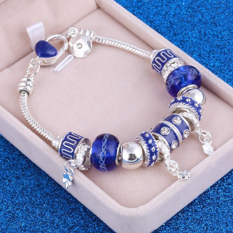 European Style Vintage Silver plated Crystal Charm Bracelet Women fit Original DIY Brand Bracelet Jewelry Gift