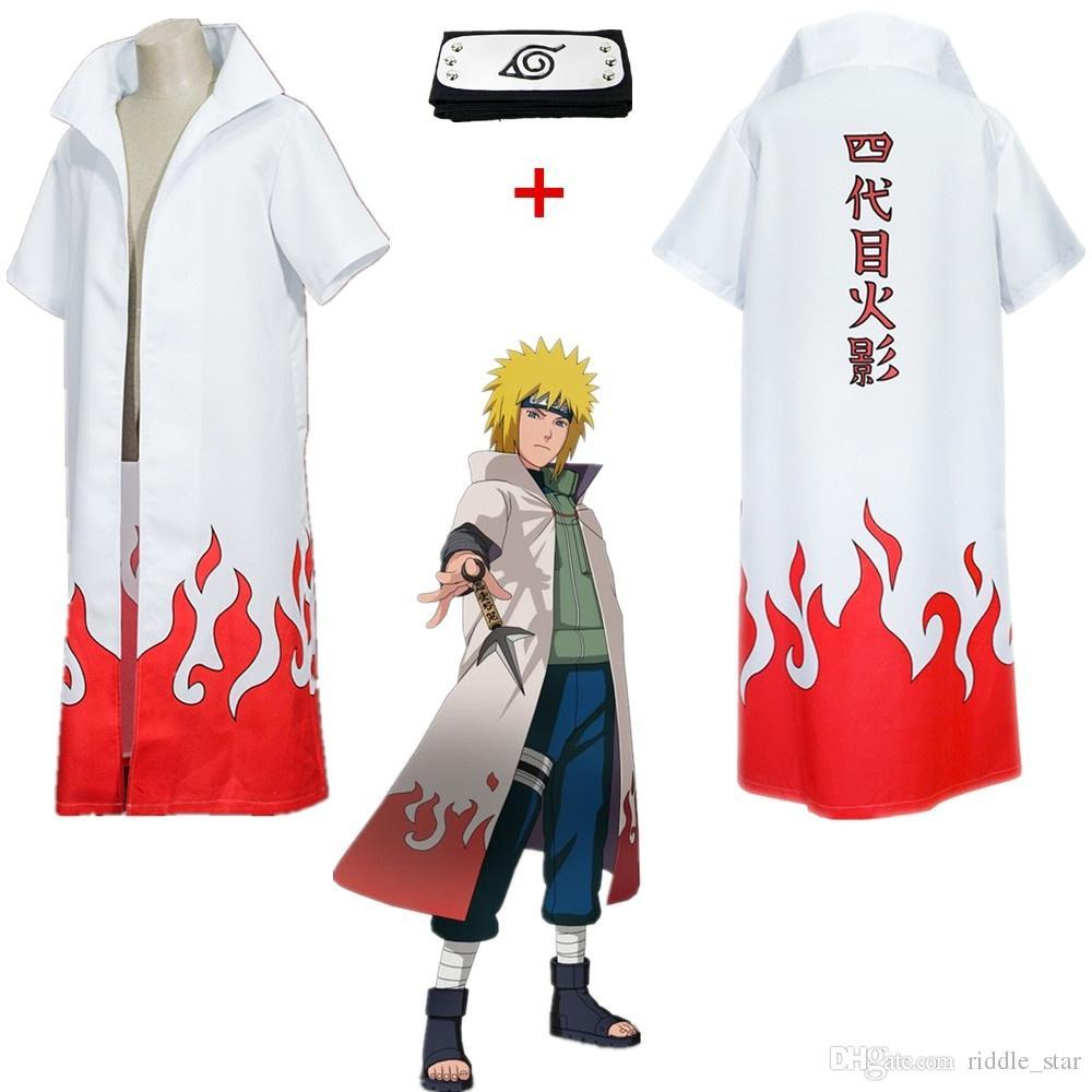 Hot cuarto Japón animado unisex Naruto Yondaime traje blanco como Namikaze Minato Cosplay Hokage Abrigo Prop Capa