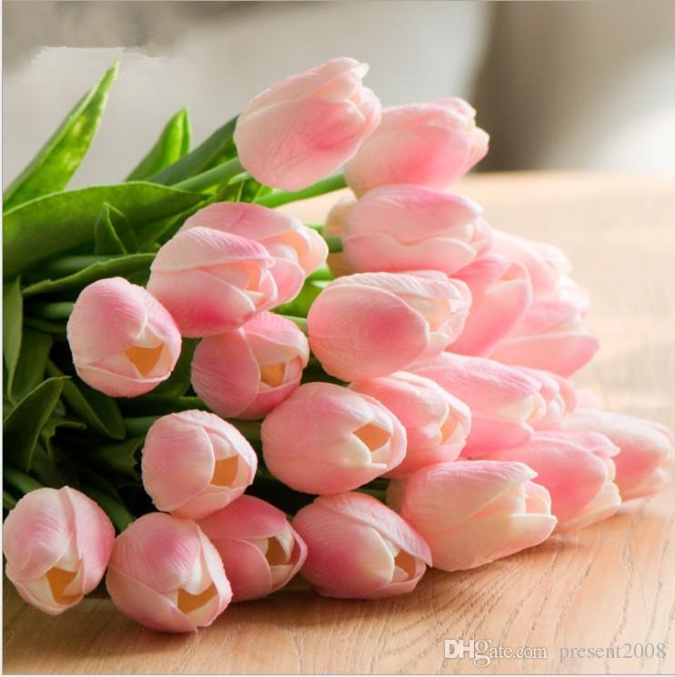 50PCS tulipes latex artificiel PU bouquet de fleurs fleurs contact réel pour la décoration maison de mariage Fleurs décoratives 10 couleurs Option