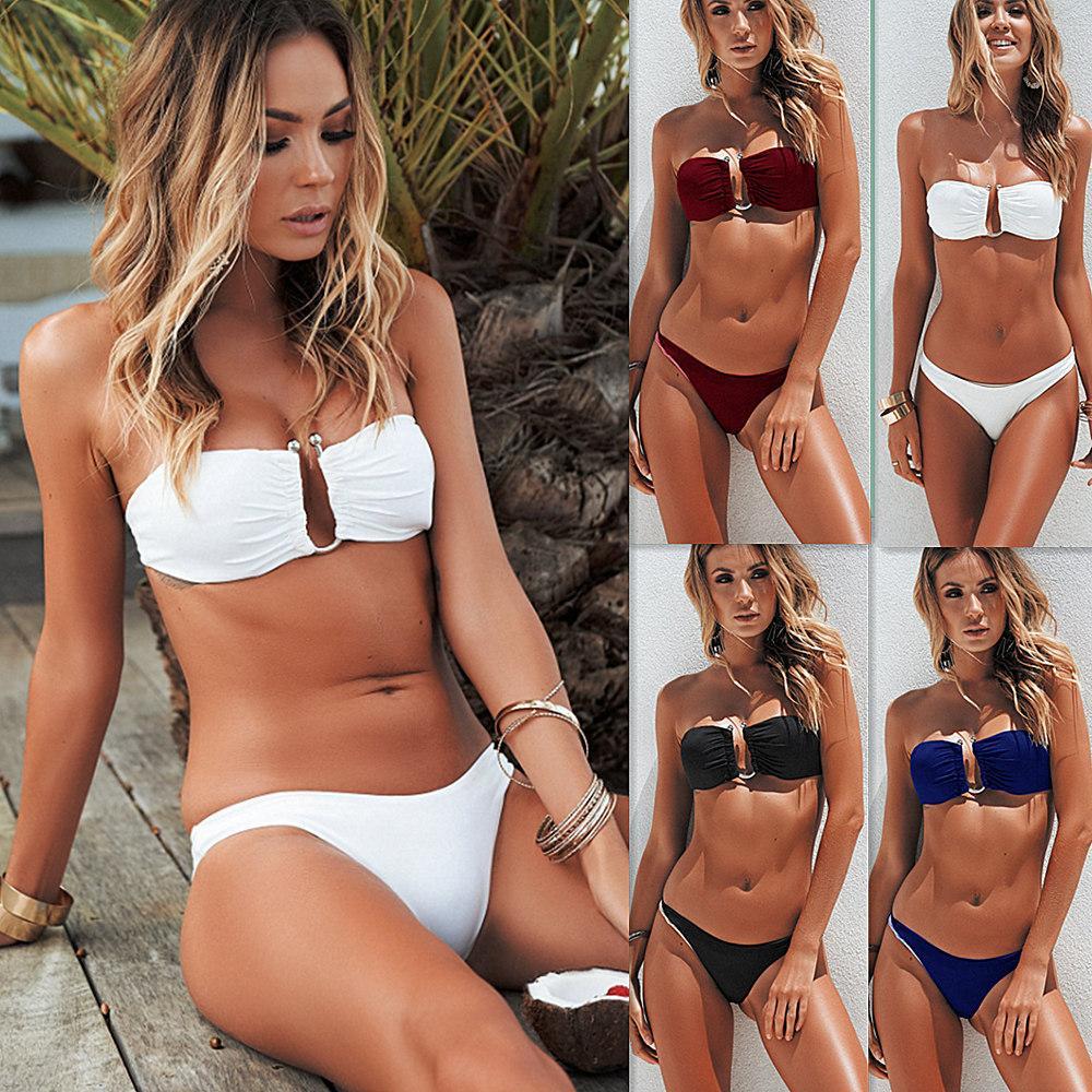 Summer Women Sexy Bikini Supporto in acciaio tinta unita Outdoor Beach Bikini da vacanza Club Wear Summer Swimwear mental Taglia S-XL