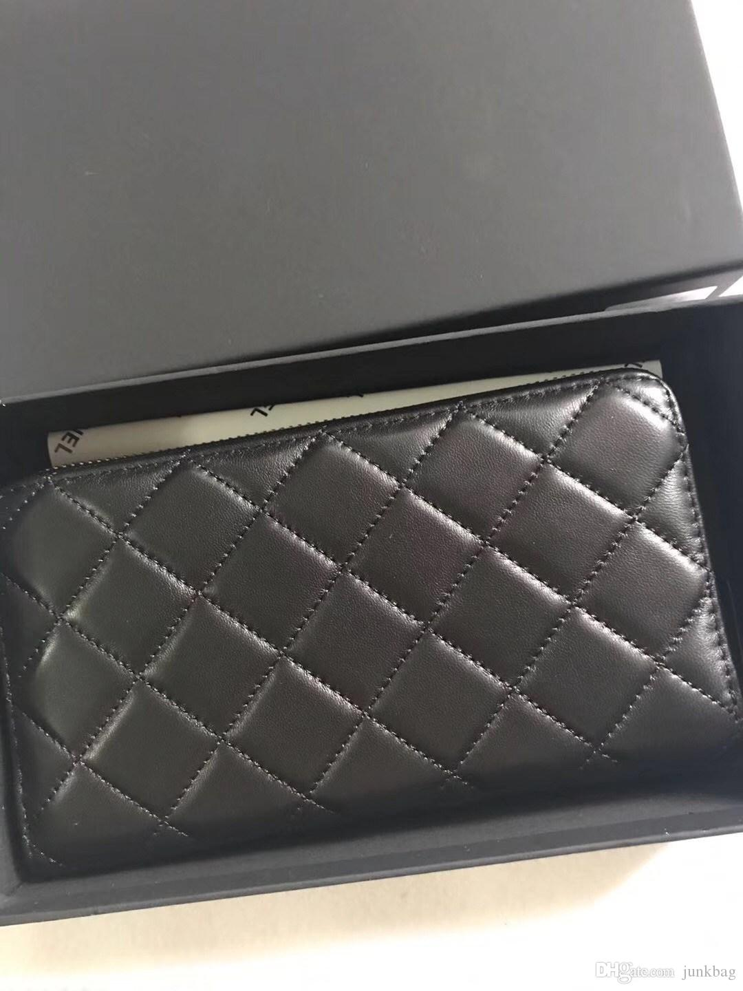 Famous fashion brand classic plaid women's long purse high quality sheepskin gold and silver hardware luxury bag Exclusive gift box purse