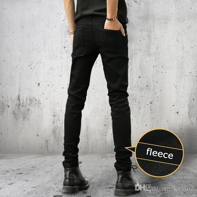 Высокое качество 2018 Мода маленькие ноги брюки джинсы мужская эластичная молодежь твердые сгущаться и тонкий флис мужские брюки подростков
