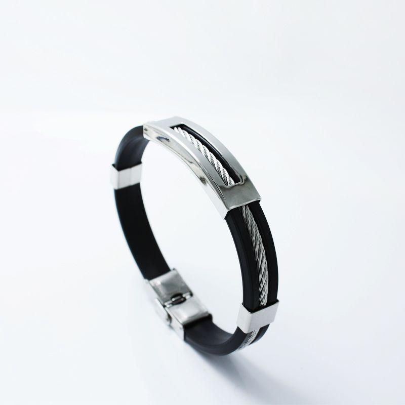 2018 из нержавеющей стали силиконовый черный браслет мужской браслет панк стиль новых мужчин браслет простой резиновый шарм Pulsera Hombre