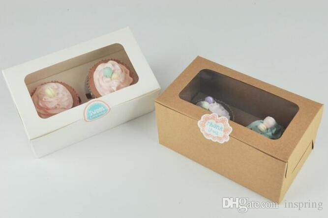 kraft Card Paper Cupcake Box 2 Cup Cake Holders Muffin Cake Boxes Dessert Portable Package Box Tray Gift Favor 1000pcs