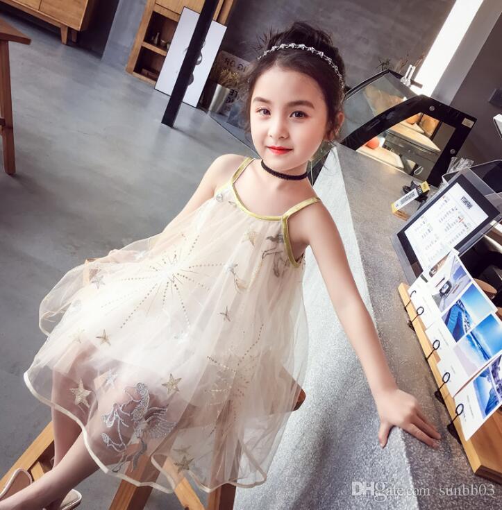 New Summer Girls Suspender Dress Kids Cartoon Tulle Lace Dress Children Girl Slip Dress 13398