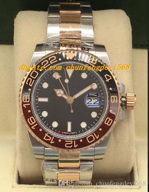 Luksusowe zegarki II 126711 Stahl / Roségold Pełny zestaw Mai 2018 Nowa ceramiczna Bezel Automatyczna Moda Marka Męskie Zegarek Zegarek
