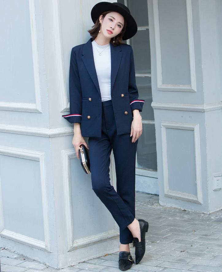 Novas Mulheres Terno 2018 Moda Slim Negócios Escritório Escuro Verde Jaqueta Definir Formal Blazer + Calças Terno Feminino Feminino L1629