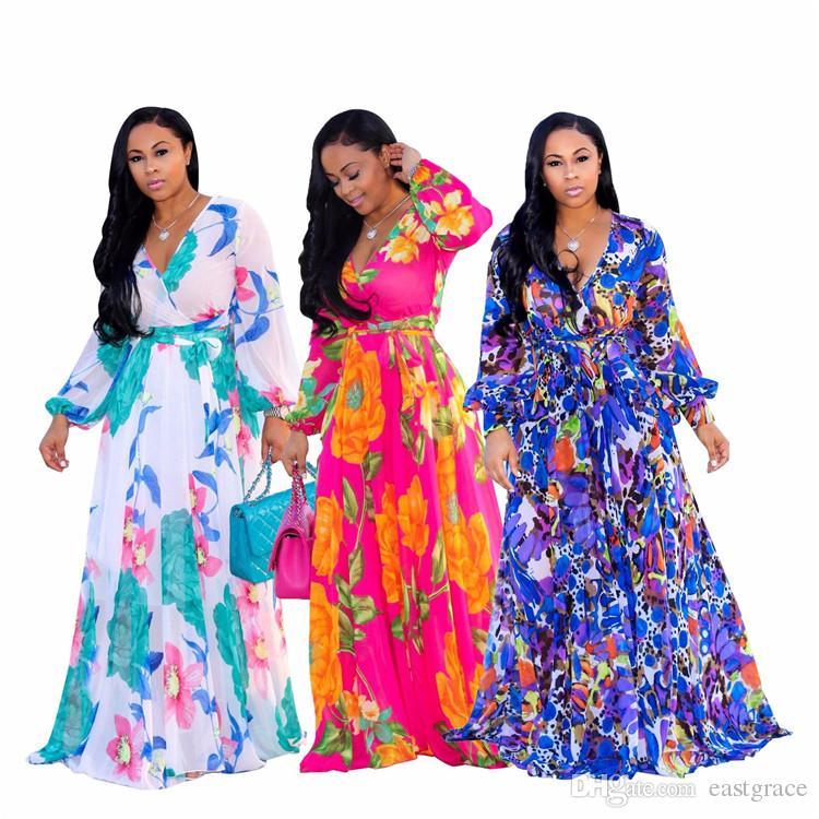 Женская мода лето V шеи классические макси платья с длинным рукавом Флора печати повседневная бохо платья 3 цвета плюс размер 3XL