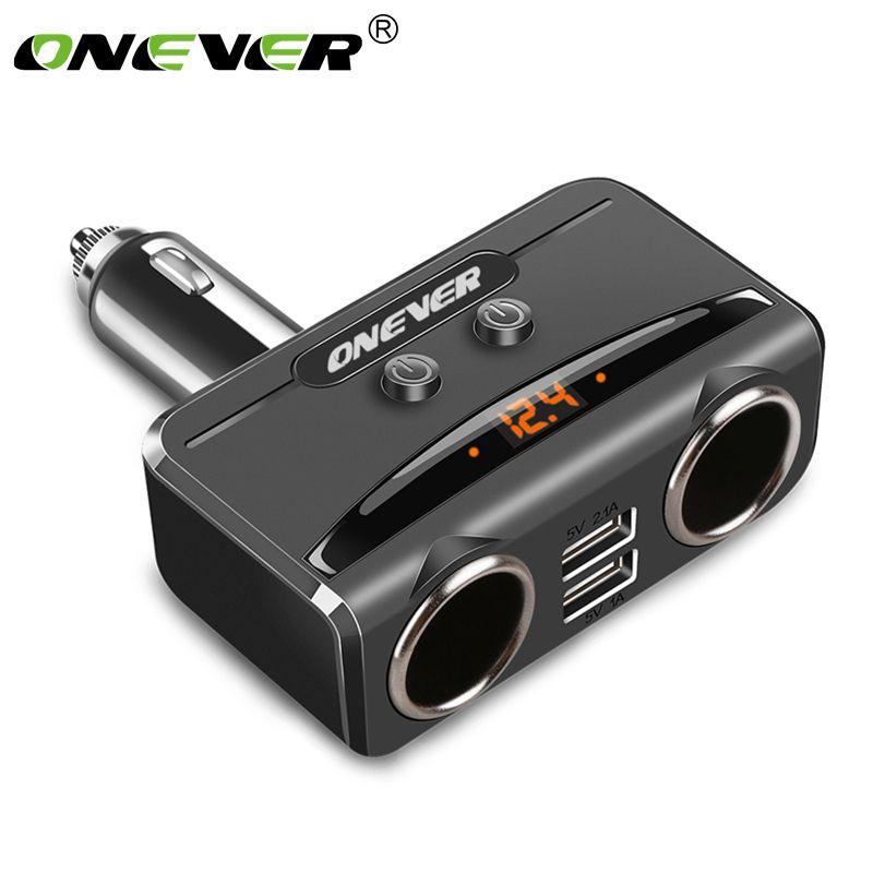 Onever Car USB Cigarette Lighter Socket Splitter 12V-24V Power Adapter Max 5V 3.1A Dual USB Car Charger with Voltmeter LCD