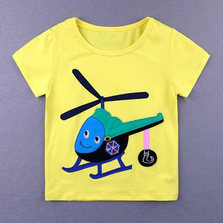 Toddler Infant Baby Boys Girls Clothes Cotton short sleeve summer T Shirts O Neck helicopter applique boys Top for 1-6y Yellow T-shirt