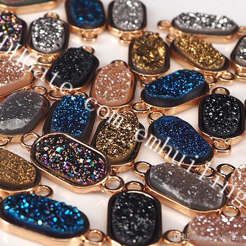 10Pcs Drusy Druzy Geode Link Connector Pendant, Gold Plated Bezel Set, Titanium Coated Silver, Blue, Gray, Champagne, Black, Gold, 15mmx9mm