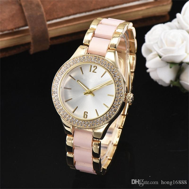 2018 New Fashion Luxury Design women's Girl crystal Stainless steel band Quartz wrist Watch Free Shipping Wholesale