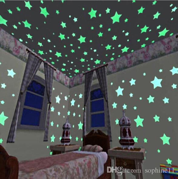 Luz da noite Estrela Adesivos de Parede Luminosa Fluorescente Removível Brilho No Escuro Adesivos De Parede Bebê Crianças Quarto Home Decor
