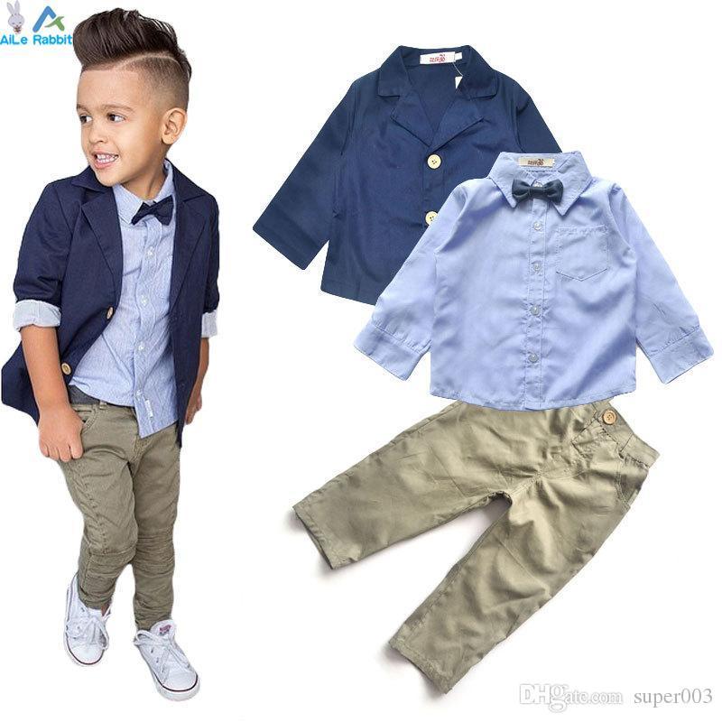 2018 Boys Clothing Gentleman Sets Handsome Denim Children jacket + shirt + pants 3pcs/set kids baby Children suits Hot Selling