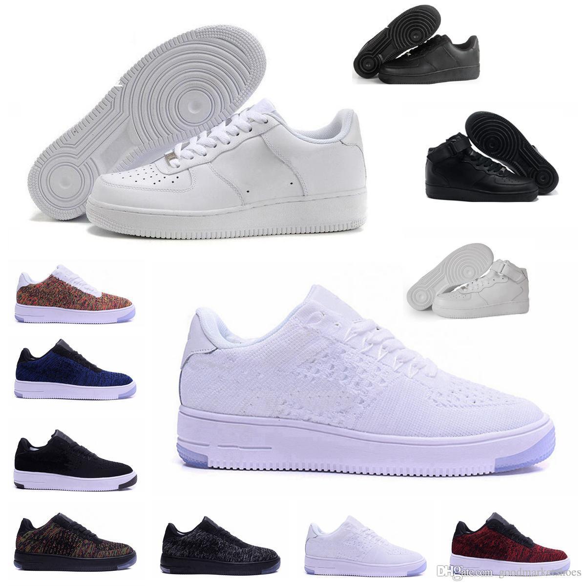 Großhandel 2019 Nike Air Force One 1 Af1 Mode Männer Schuhe Low One 1 Männer Frauen China Freizeitschuh Fly Designer Royums Typ Atmen Skate Stricken