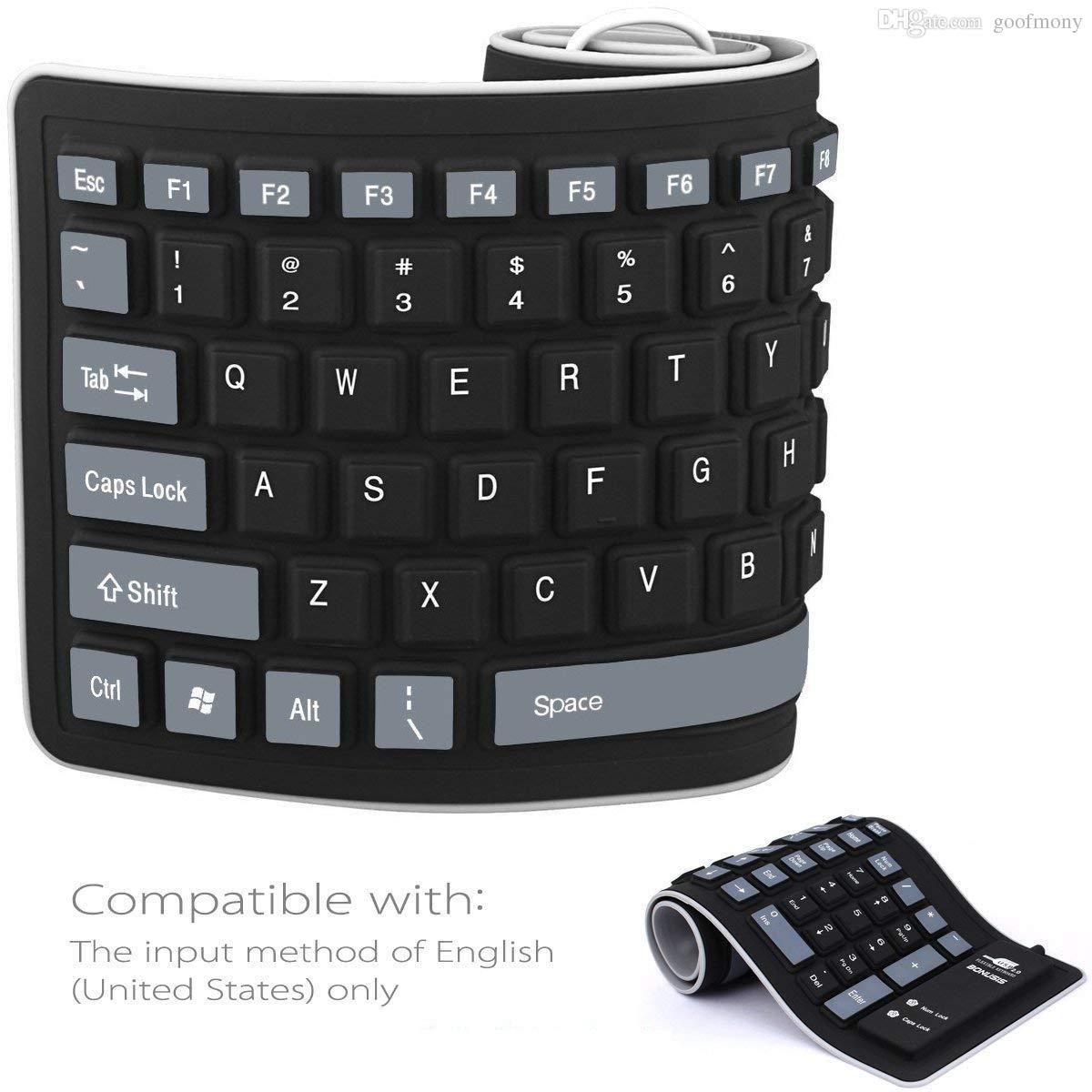 Flexible rollen Sie oben verdrahtete weiche wasserdichte faltbare Silikagel-Computer-Tastatur USBs für PC Laptop-Notizbuch