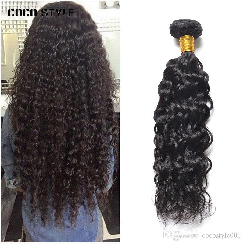 Fasci di Onda di acqua brasiliana Fasci di tessuto dei capelli umani 100% Estensioni dei capelli NonRemy Capelli Colore naturale 10-28 Pollici 1 PZ