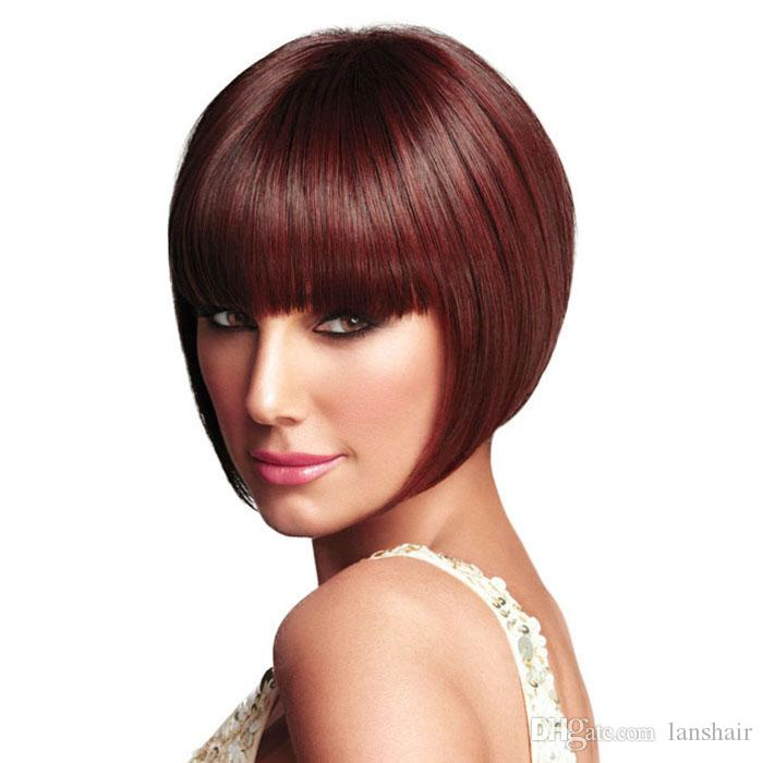 New Stylish The pic color Short Straight BOBO wig Africa American wigs Synthetic Ladys' Hair Wig/Wigs Full Wig Capless