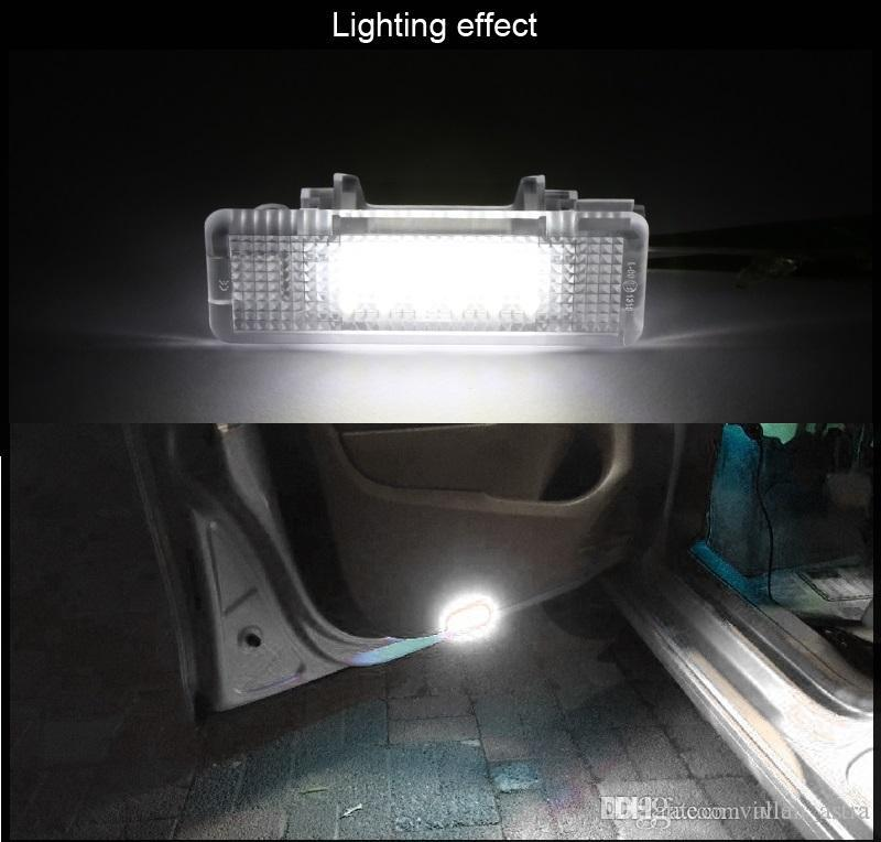 BMW E81 E90 E60 E63 E65 레인지 로버 2008 플러그 앤 플레이 쉬운 설치 화이트 12V 3528 18SMD 무료 도어 램프