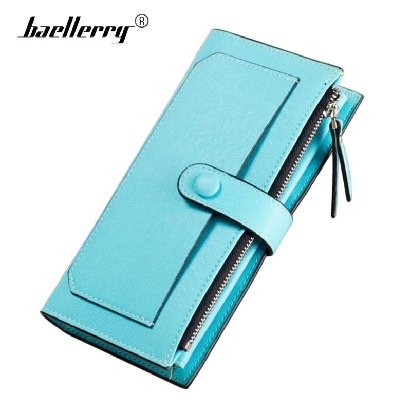 2018 Couro Longo Mulheres Carteira Mudança Ferrolho Bolsa de Embreagem Dinheiro Walet Zipper Saco Do Telefone Titular do Cartão de Carteiras Femininas Azul Vermelho carteira