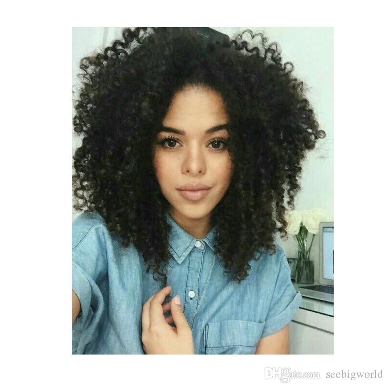 Ameri brésilienne mode des cheveux crépus bouclés africaine naturelle perruque Simulation de cheveux humains perruque afro crépus bouclés avec bang en stock