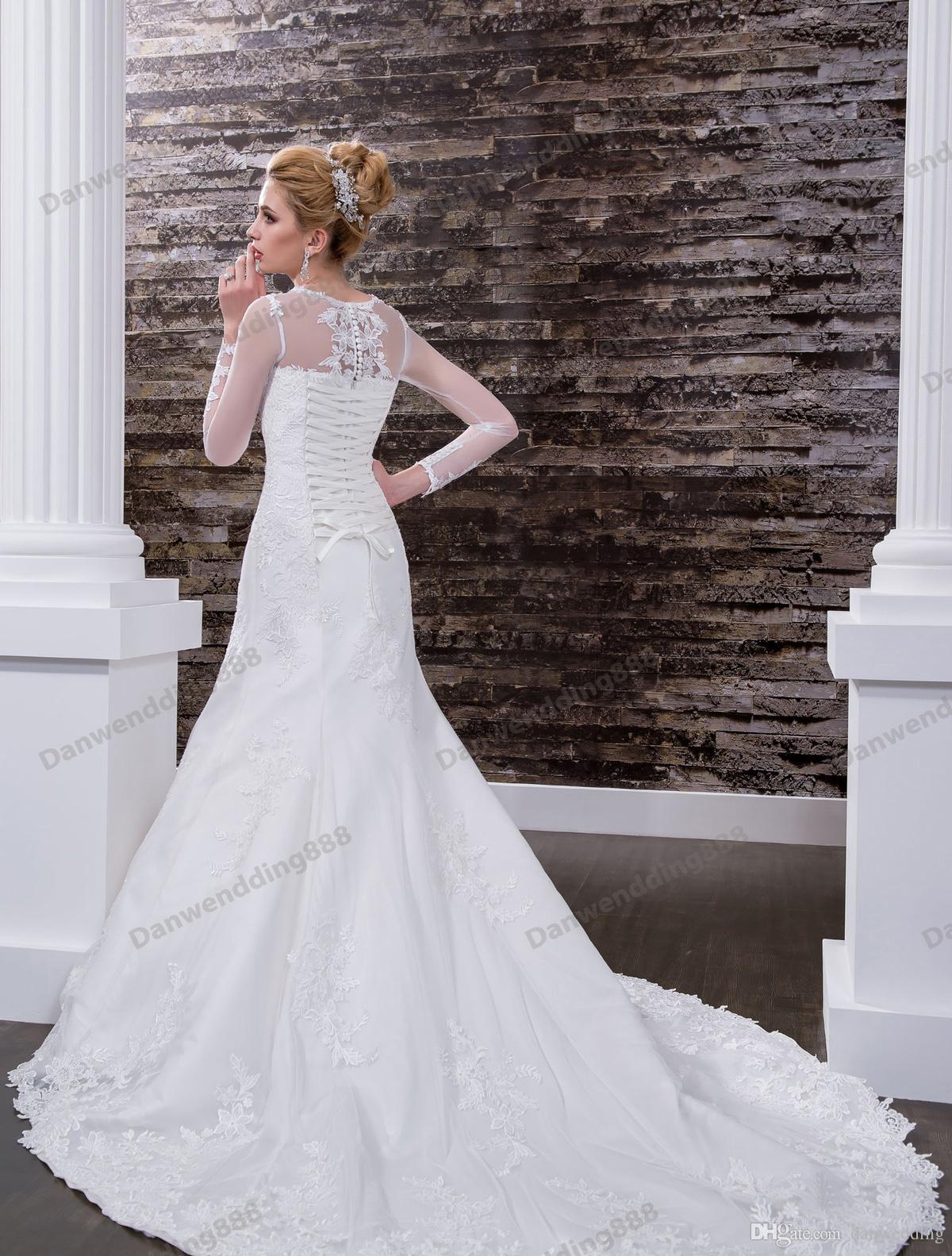 Grace Ivory Tulle Jewel Sleeves Applique Vestidos de novia de sirena Vestidos del desfile nupcial Vestidos de novia Tamaño personalizado 2-16 ZW612181