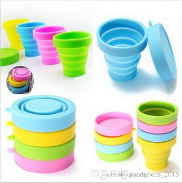 4 Colors Outdoor Travel Silicone Retractable Folding Cup Telescopic Collapsible Travel Drinkware Water Cup b855