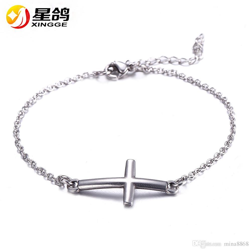 Jésus Christian Femmes Hommes en acier inoxydable Croix charmes Bracelets Argent Religieux À La Mode Chaîne Bracelet Bijoux Chanceux En Gros