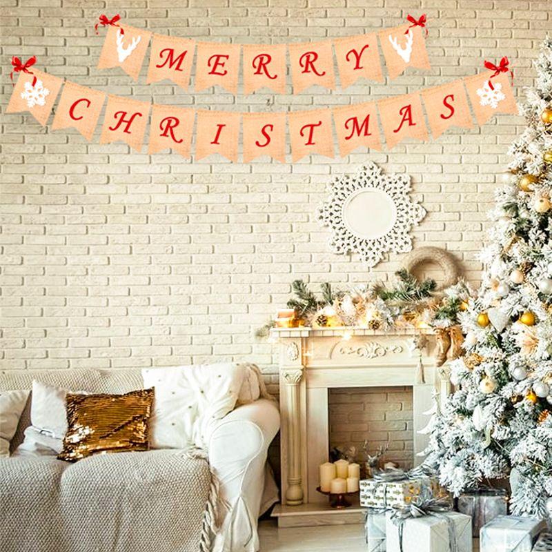 عيد ميلاد سعيد الخيش راية مع 4 أقواس حمراء - عيد ميلاد سعيد راية الديكور لشجرة الموقد الحائط
