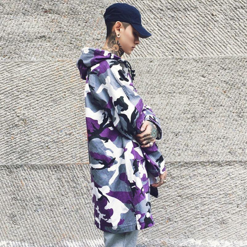 5464c0de9ce19 2019 New Autumn Winter High Street Purple Camo Long Trench Coat Men'S  Fashion Outerwear Camouflage Jacket From Cinda02, $81.12 | DHgate.Com